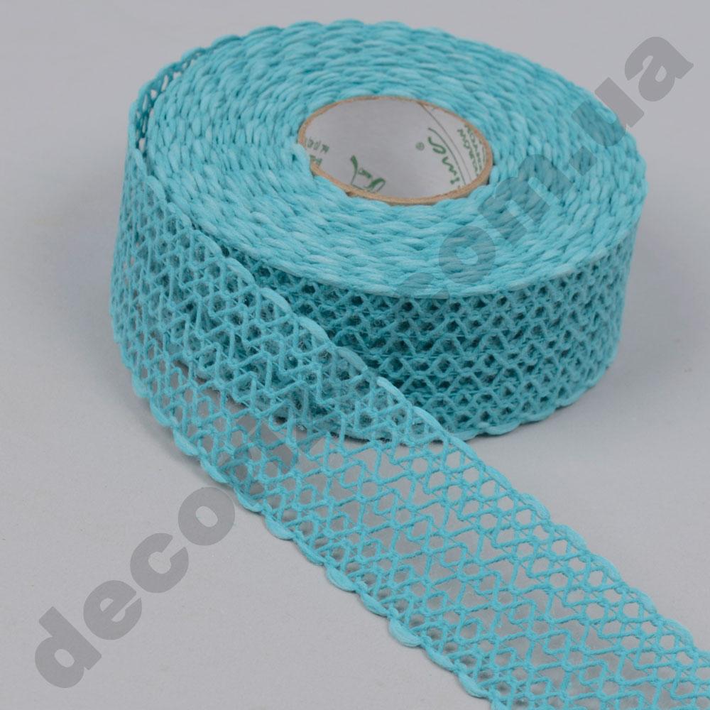 Стрічка декоративна з плетінням широка (224167) бірюзова