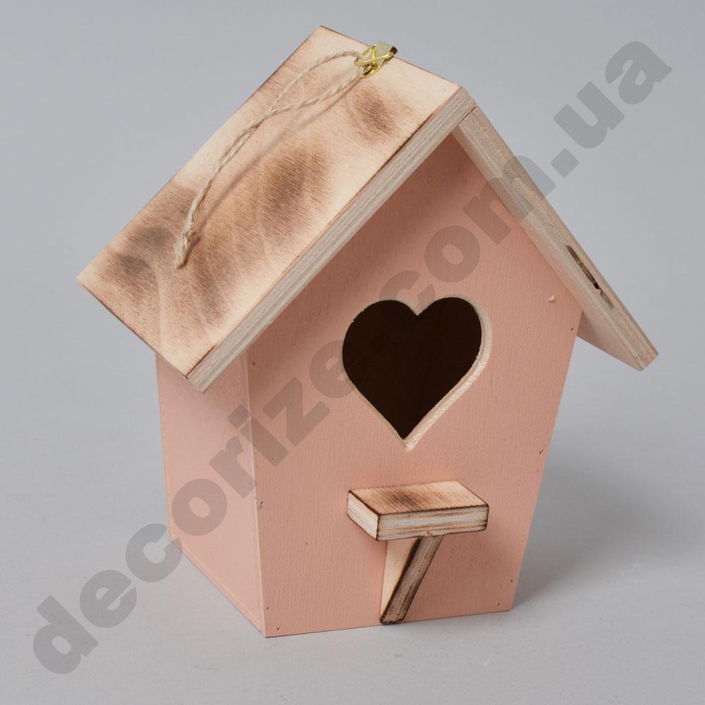 шпаківня декоративна дерев'яна (рожево -кораллова)