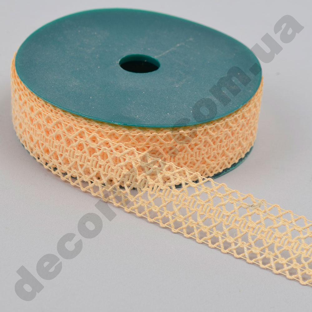 Декоративна стрічка з плетінням вузька (224166) персикова