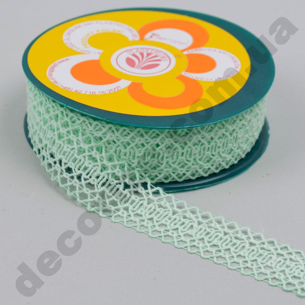 Декоративна стрічка з плетінням вузька (224166) м'ятна