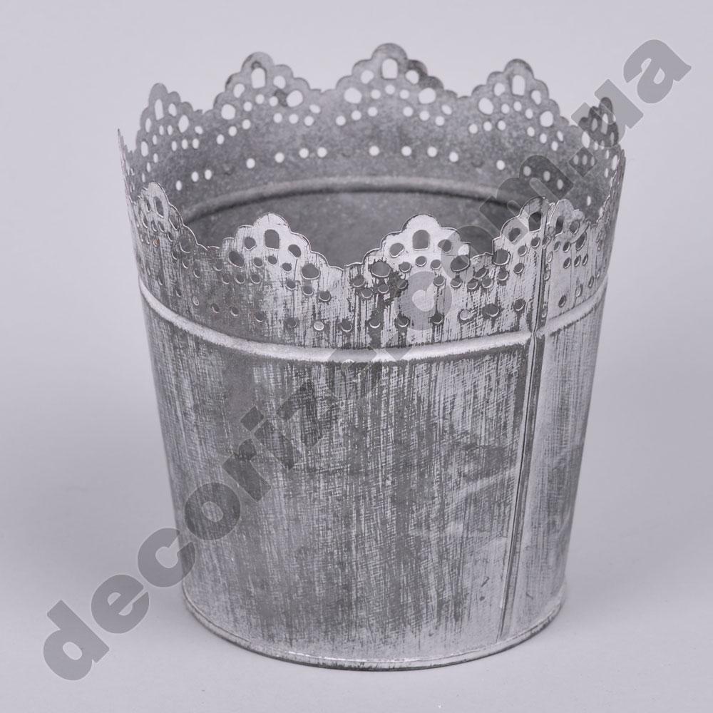 Металлическое кашпо серое с зубчиками (большое)