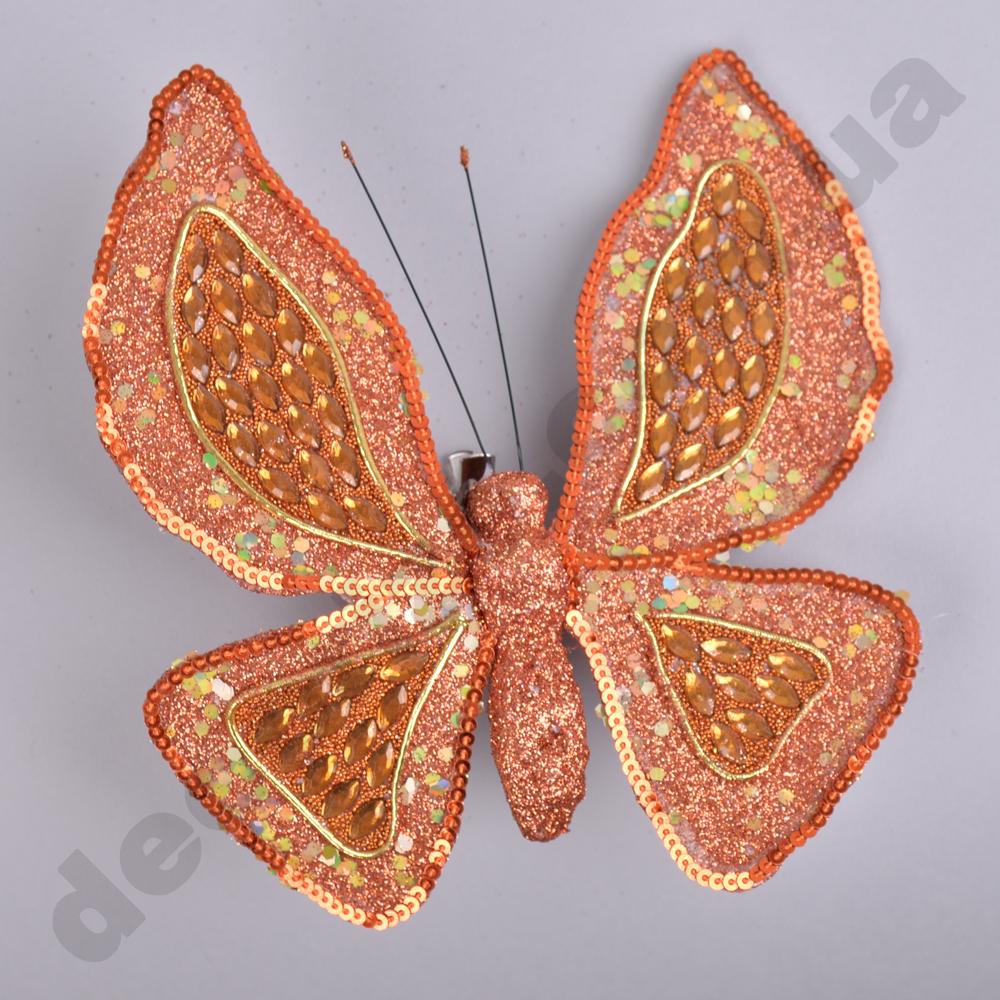 декор на елку -бабочка в камушках бронзовая