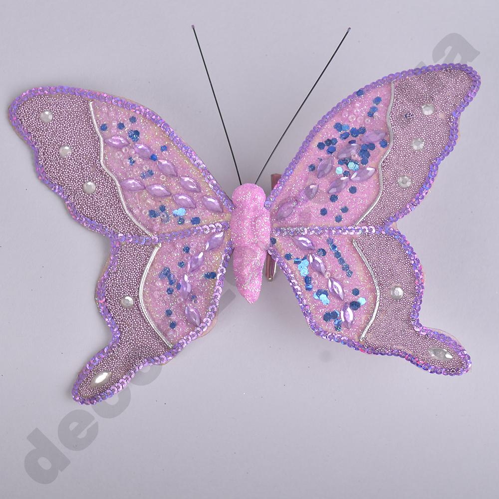 декор бабочка на прищепке сиреневые