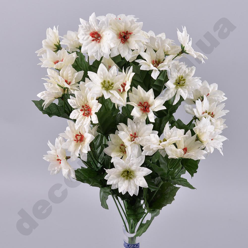 Букет пуансеттии с мини цветочками белый