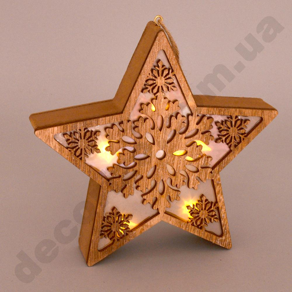 Звездочка со снежинкой коричневая с LED подсветкой