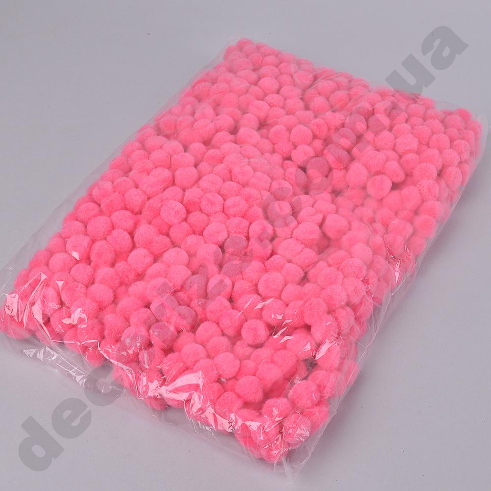 помпони декоративні маленькі 1,5 см (яскраво рожеві)