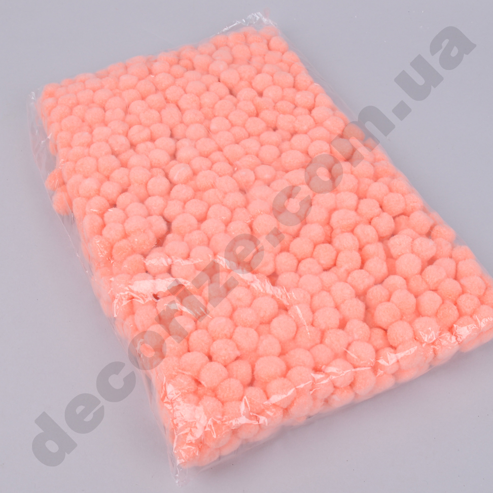 помпони декоративні маленькі 1,5 см (персикові)