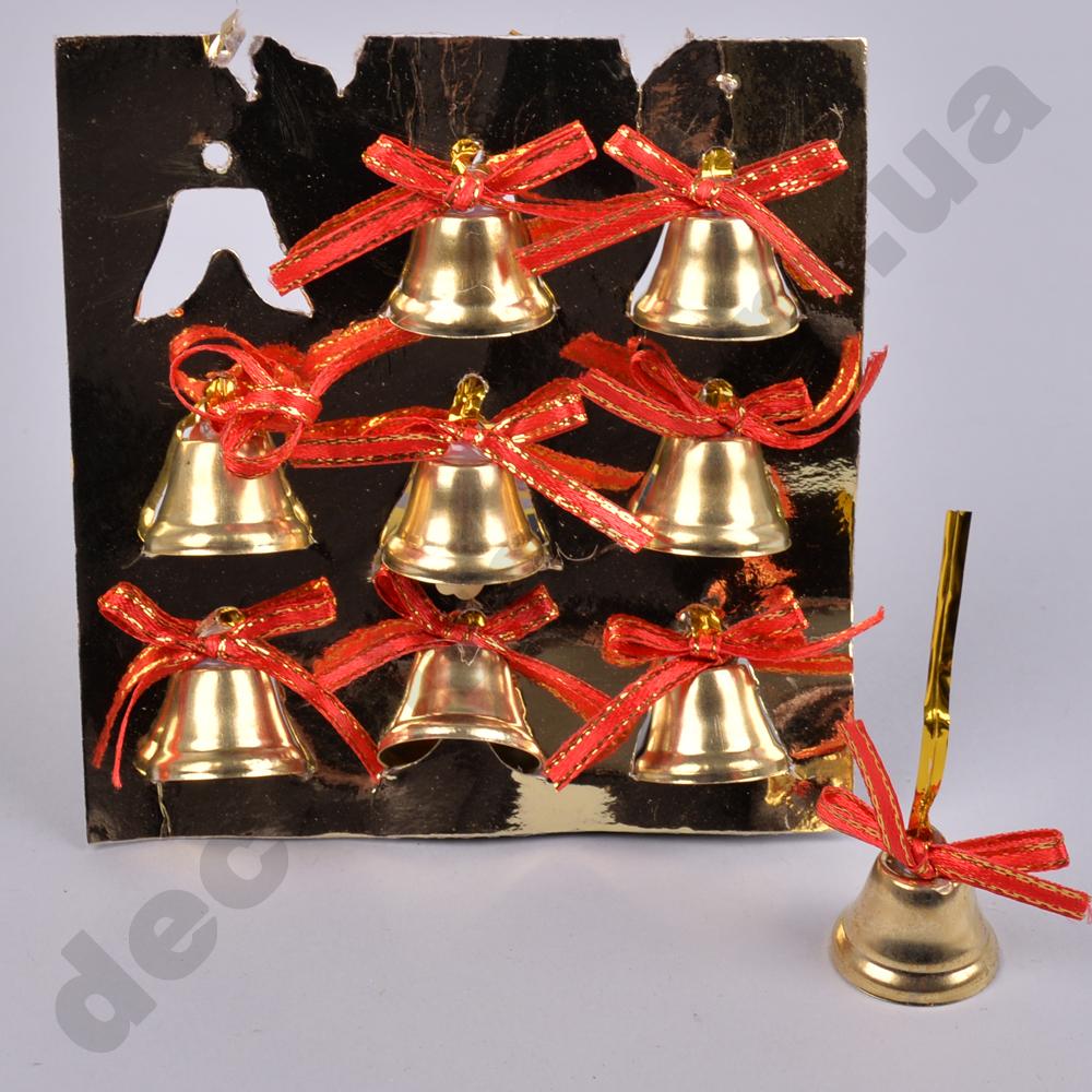 Новорічні дзвіночки з червоним бантом (9 шт)