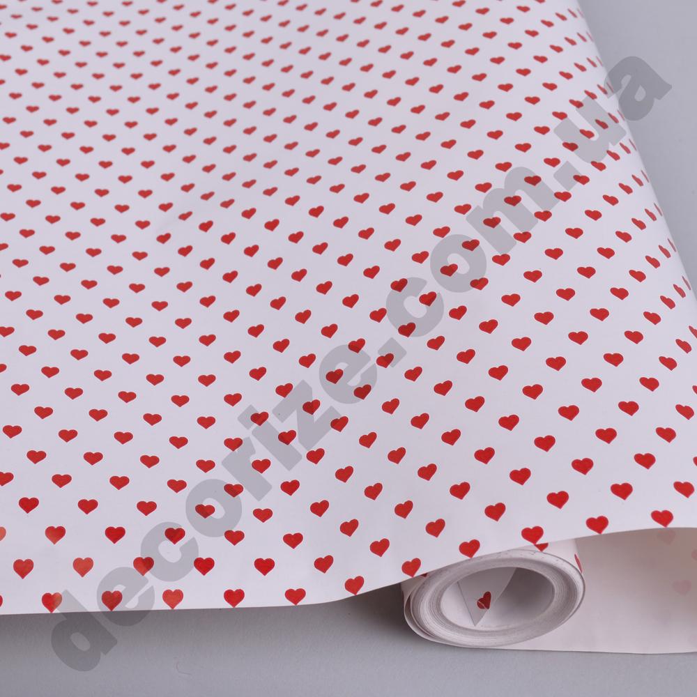 Упаковочная бумага в рулоне красные сердца  70см * 2м.
