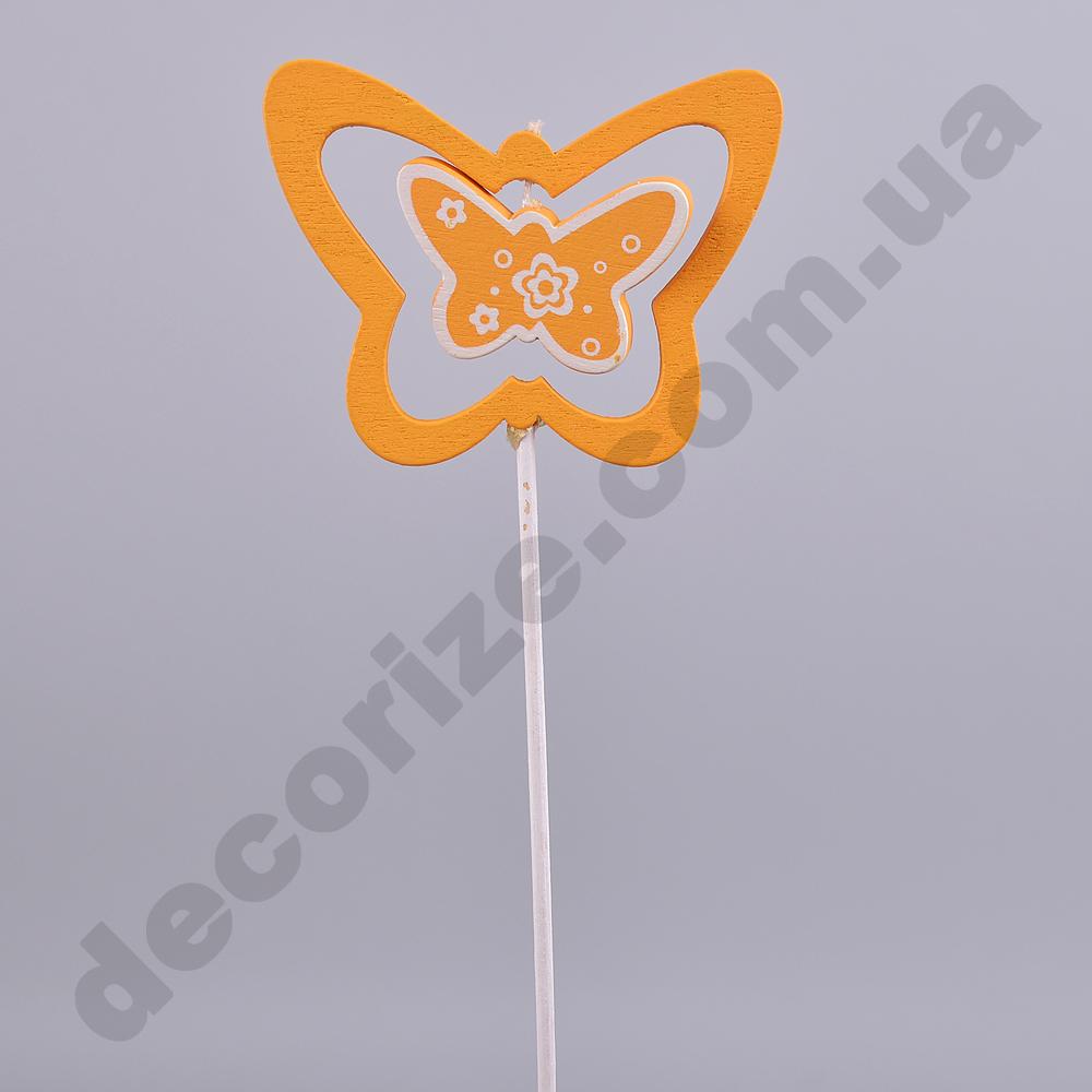 Декор на палочке двойная бабочка оранжевая микс