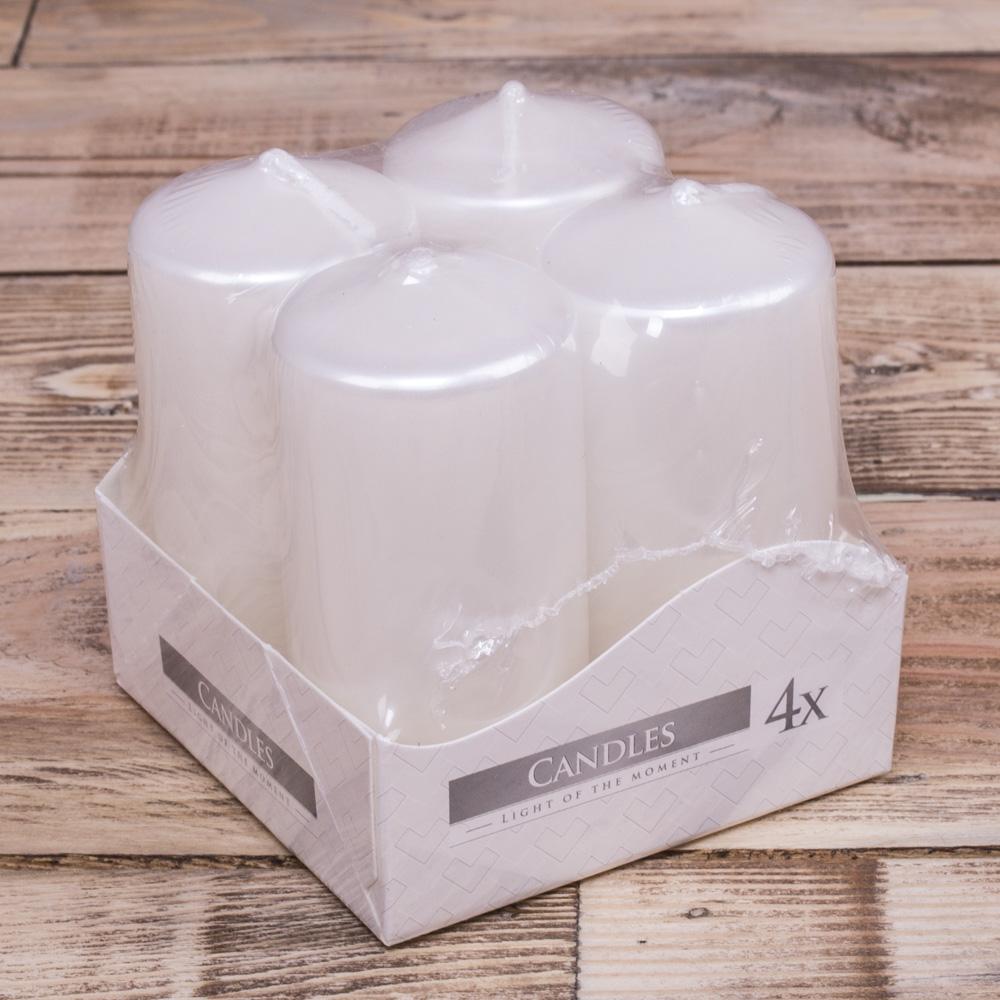 набор из 4-х свечей (средние -7,5см ) перламутр