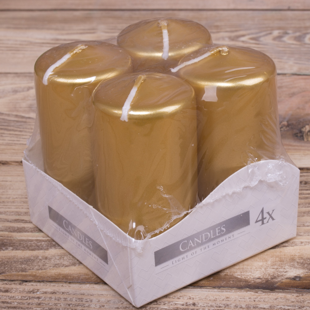 набор из 4-х свечей (средние -7,5см ) золото
