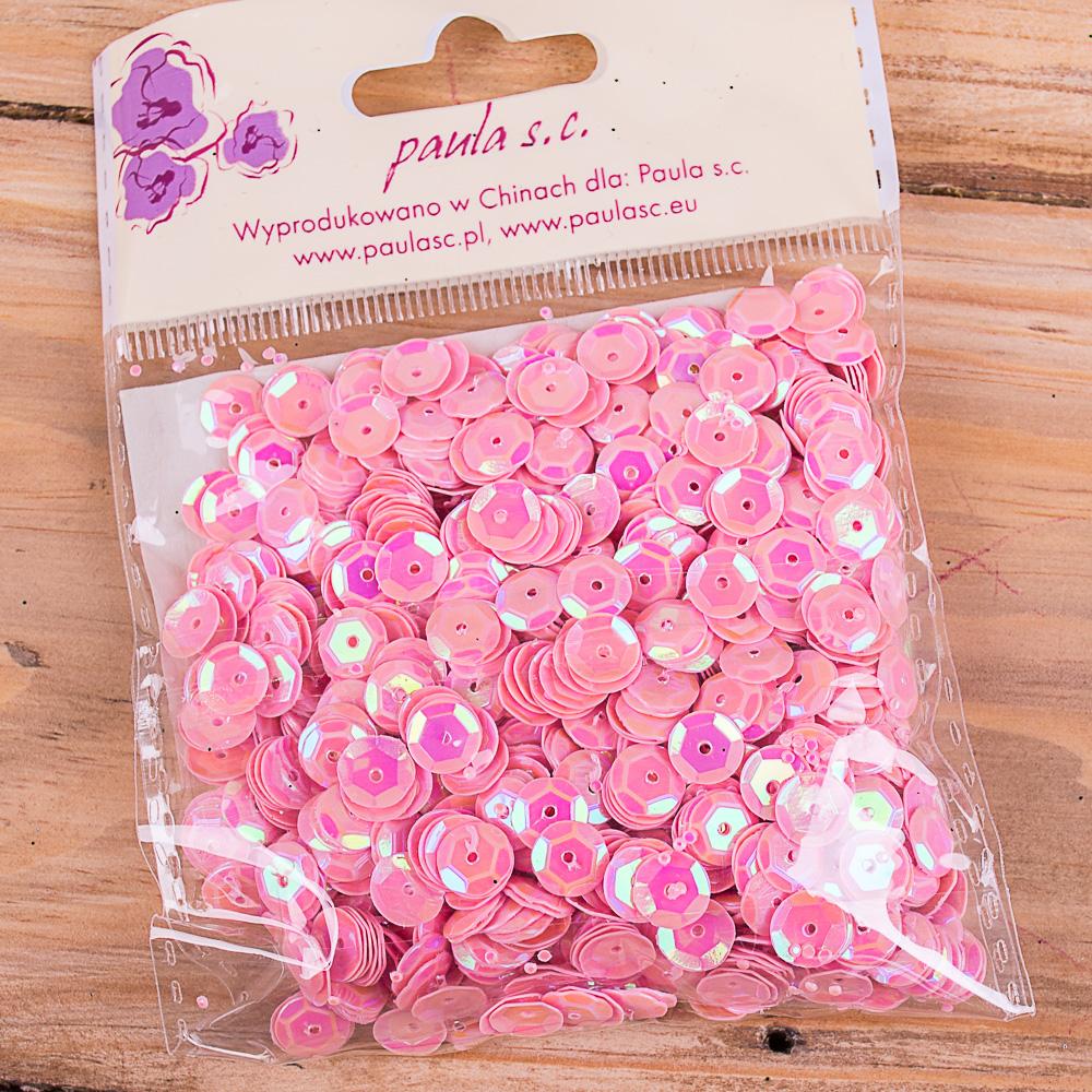пайетка круглая розовая
