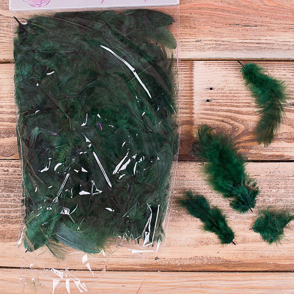 Перья натуральные - 040- зеленые