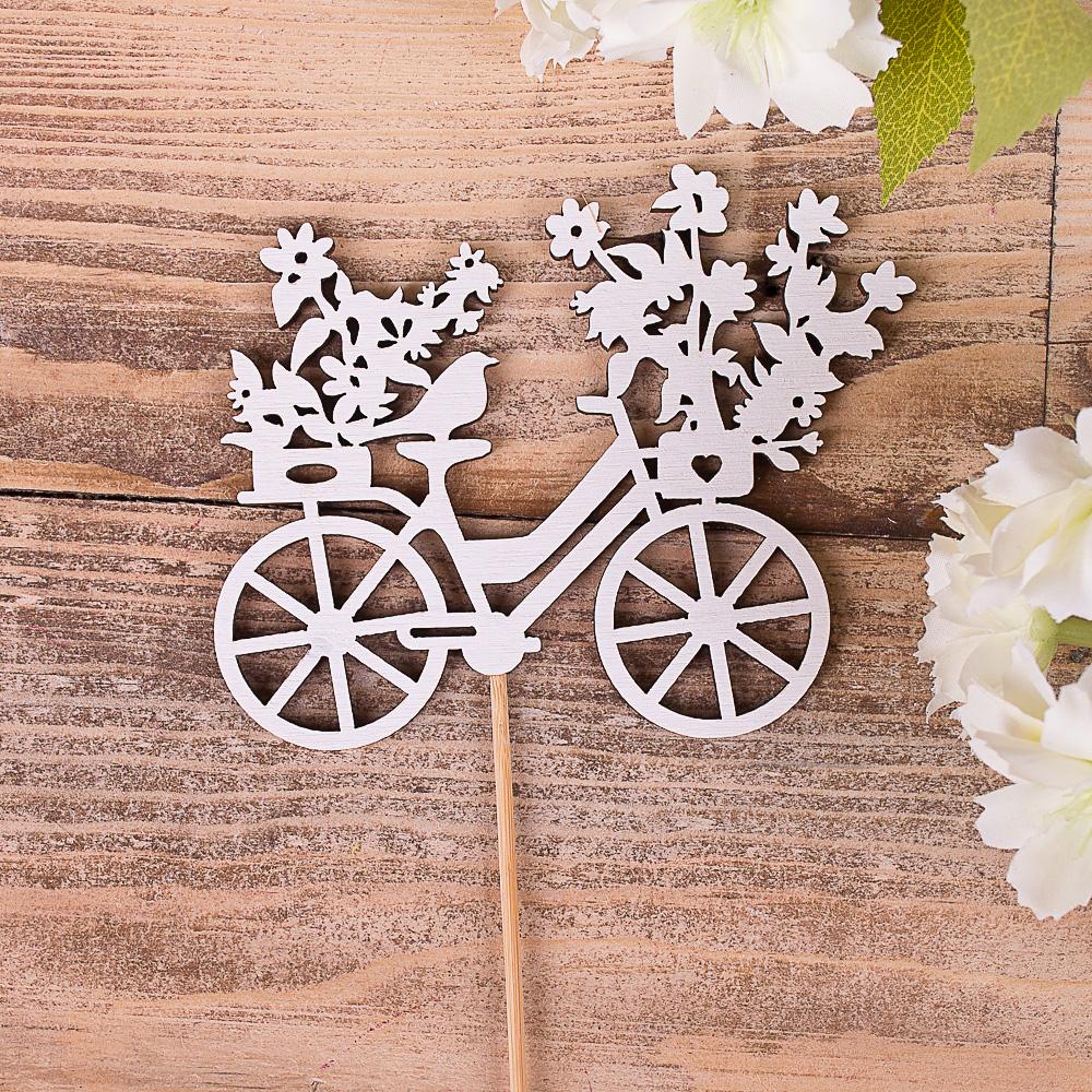 """топпер - """"силуеты"""" велосипед с цветами"""