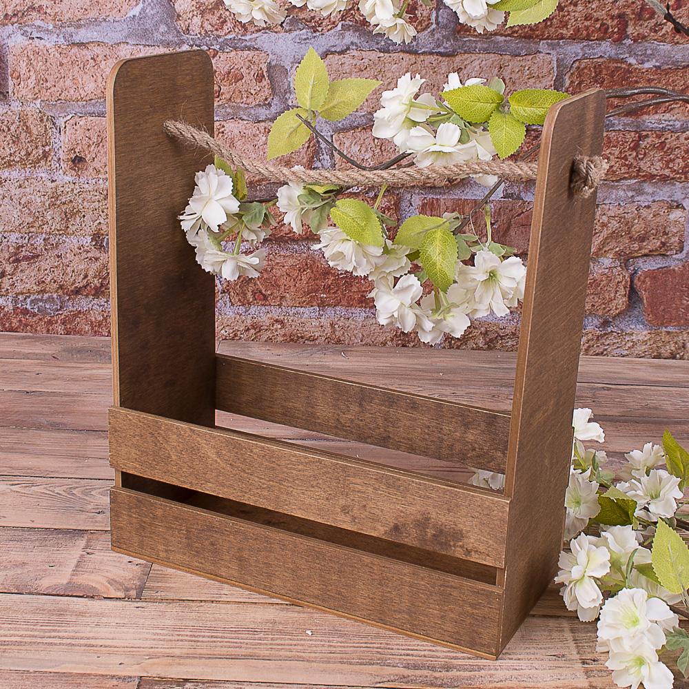 ящик для цветов с канатом коричневый