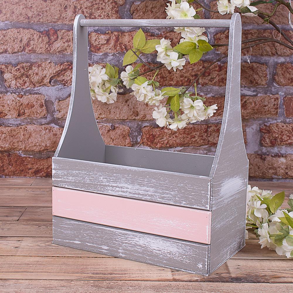 """ящик для цветов  с пудровой полоской  (размер """"L"""")"""