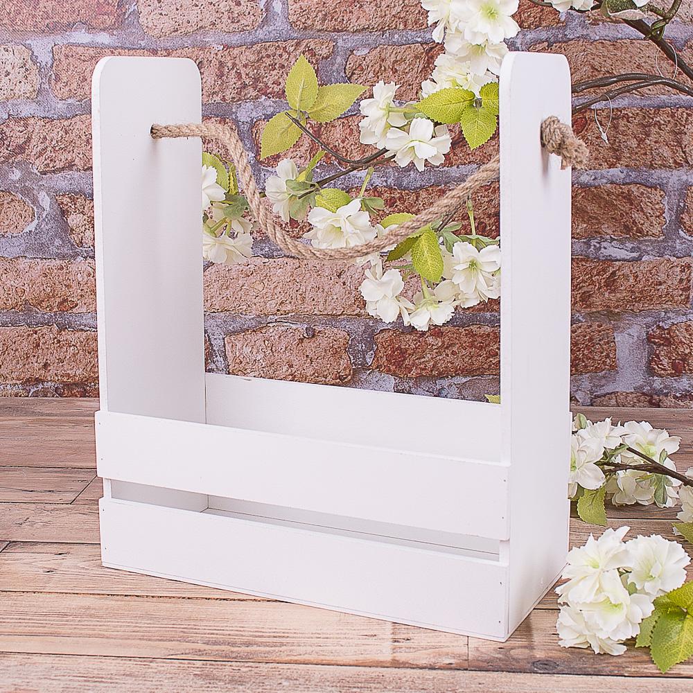 ящик для цветов с канатом белый