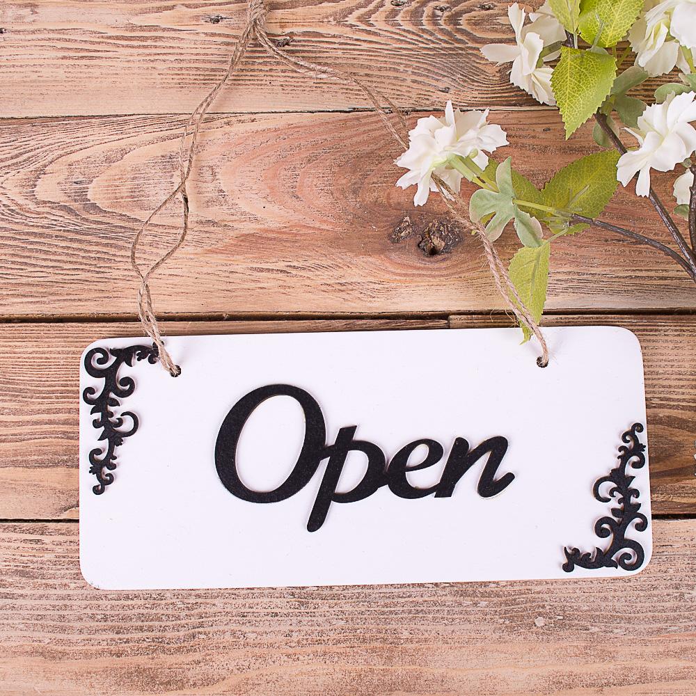 "Табличка двухсторонняя ""open closed"" черная"