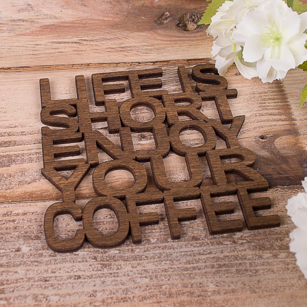 """подставка под кружку из дерева """"coffee"""""""