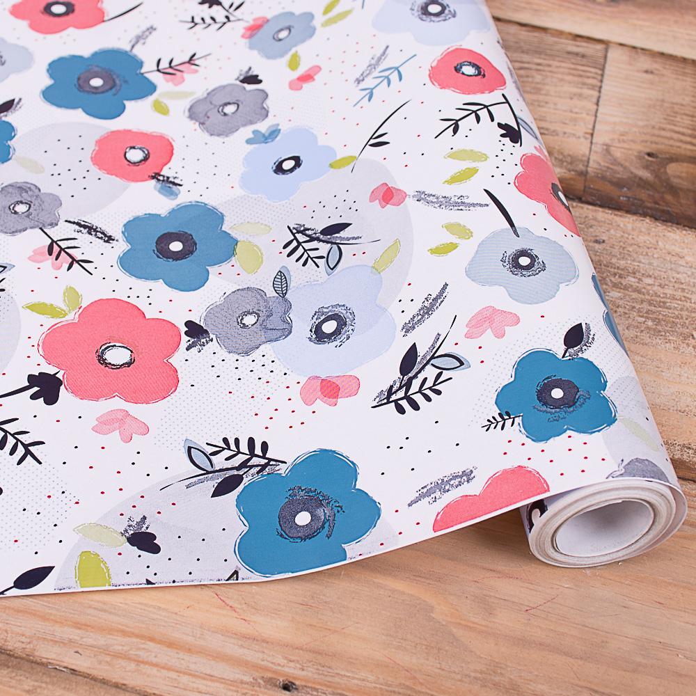 """бумага подарочная """"цветы графика""""  70см * 10м."""