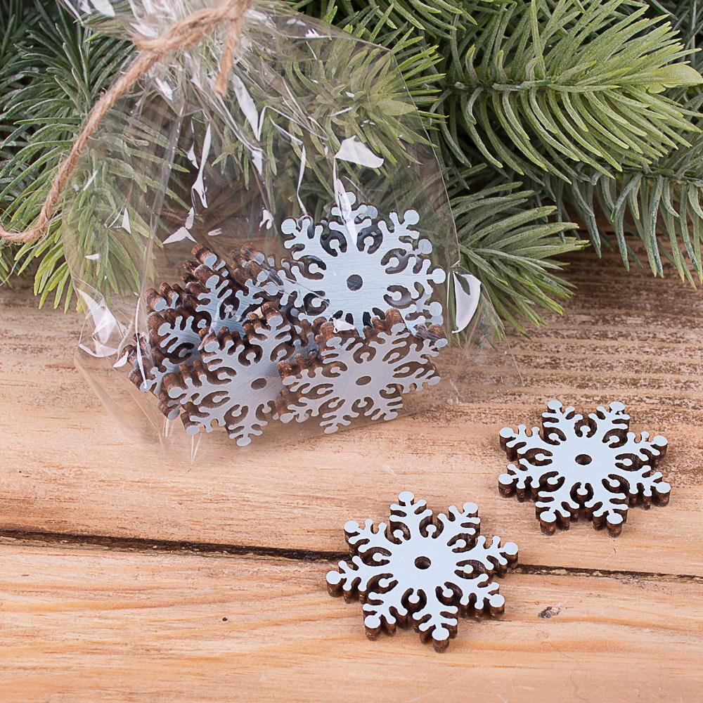 деревянный декор - снежинки голубые