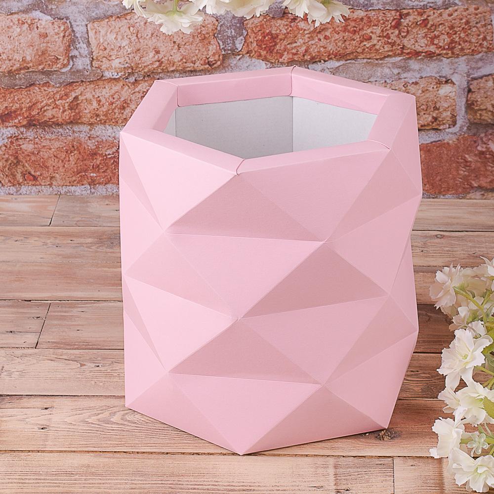 "Коробка ""многогранная, размер L"" нежно розовая"