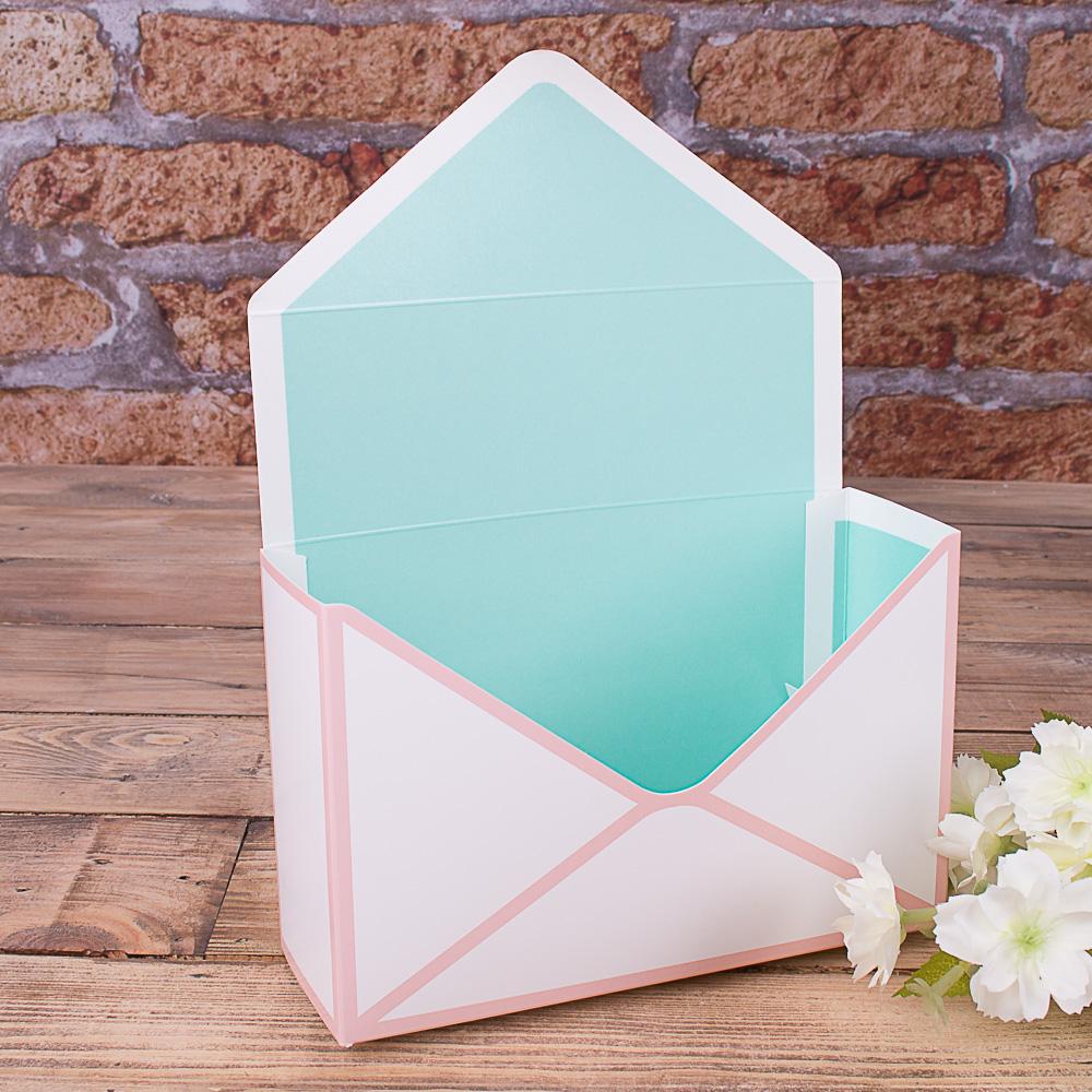 """кашпо картонне """"поштовий конверт"""" рожево-бірюзове"""