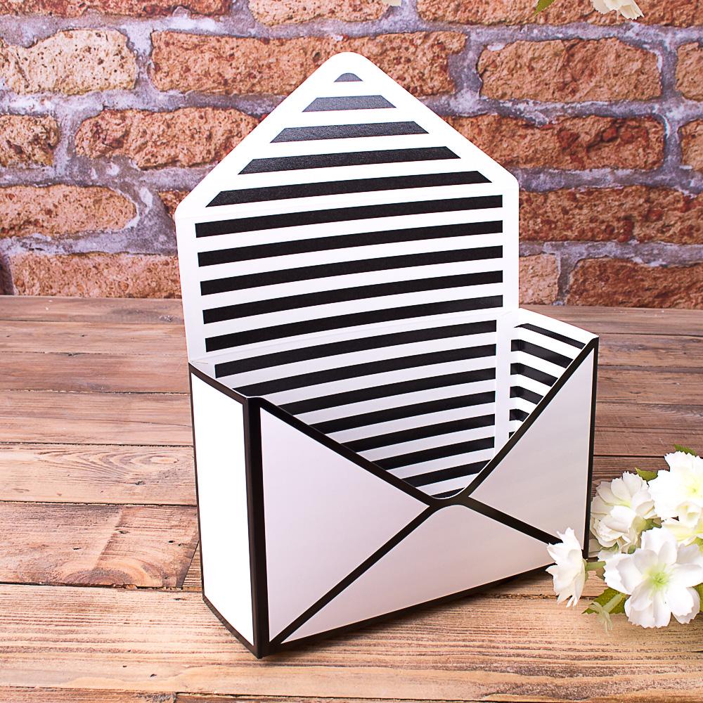 """кашпо картонне """"поштовий конверт"""" біло-чорне"""