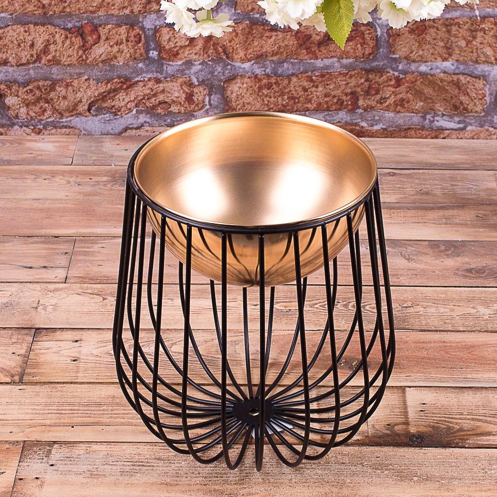 Металева ваза Золота кругла на чорній ніжці-клітці