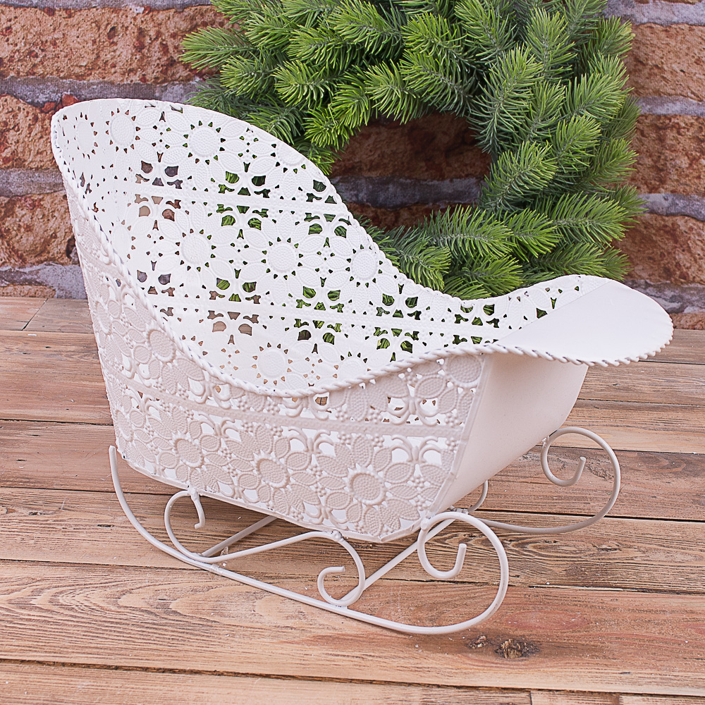 Санки-кашпо білі декоративні овальні