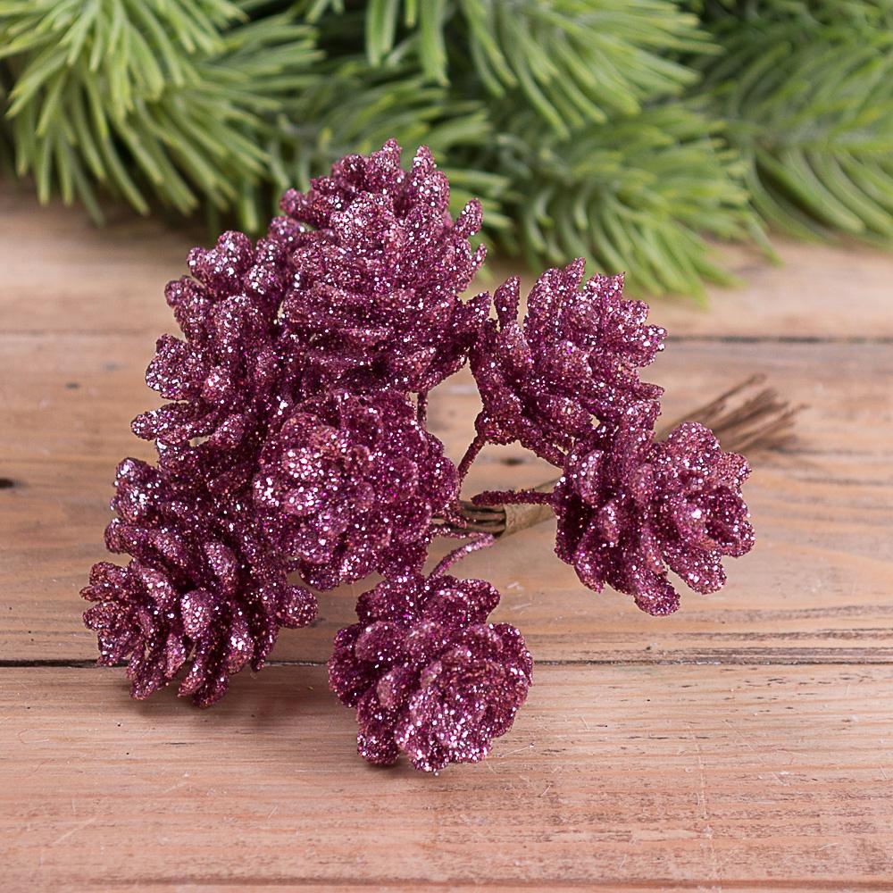 пучок шишки в блестках (11-12шт) фиолетовые