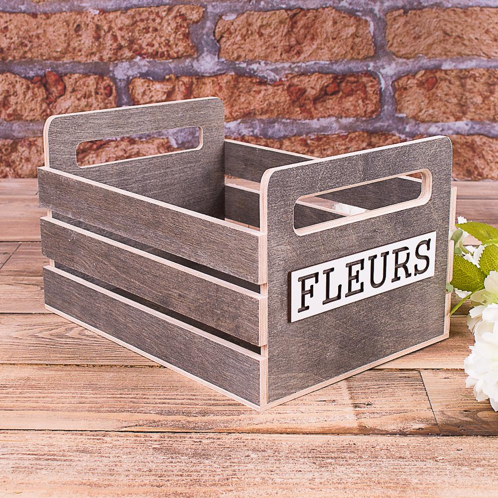 Ящик деревянный fleurs серый