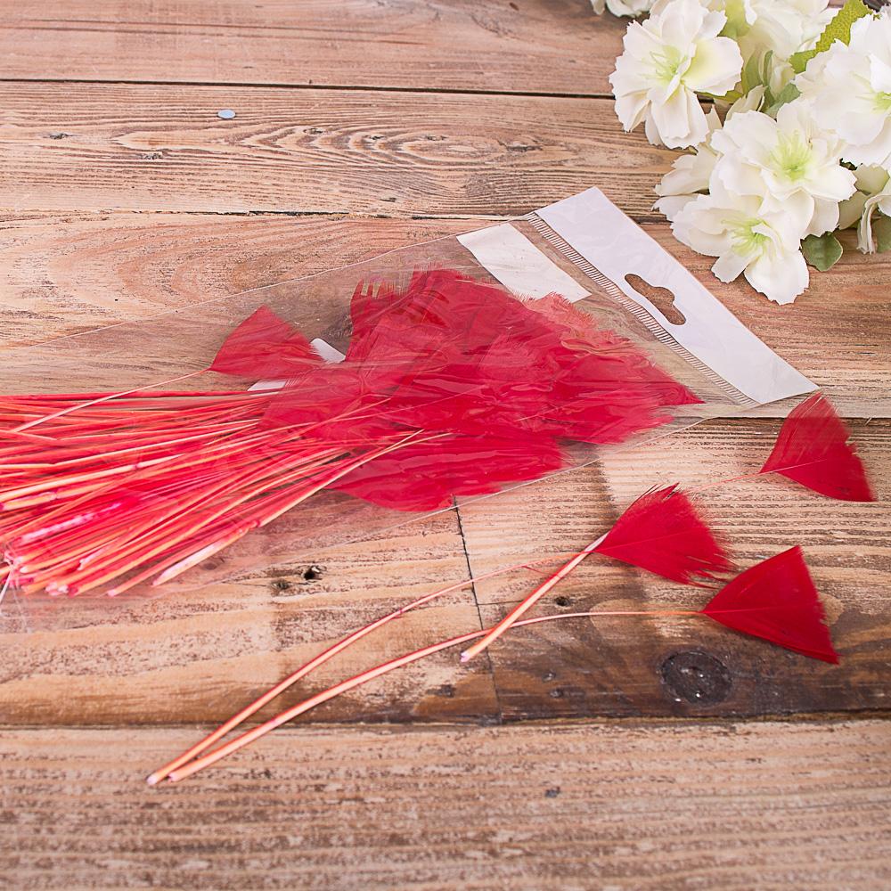 перья красные (100шт)