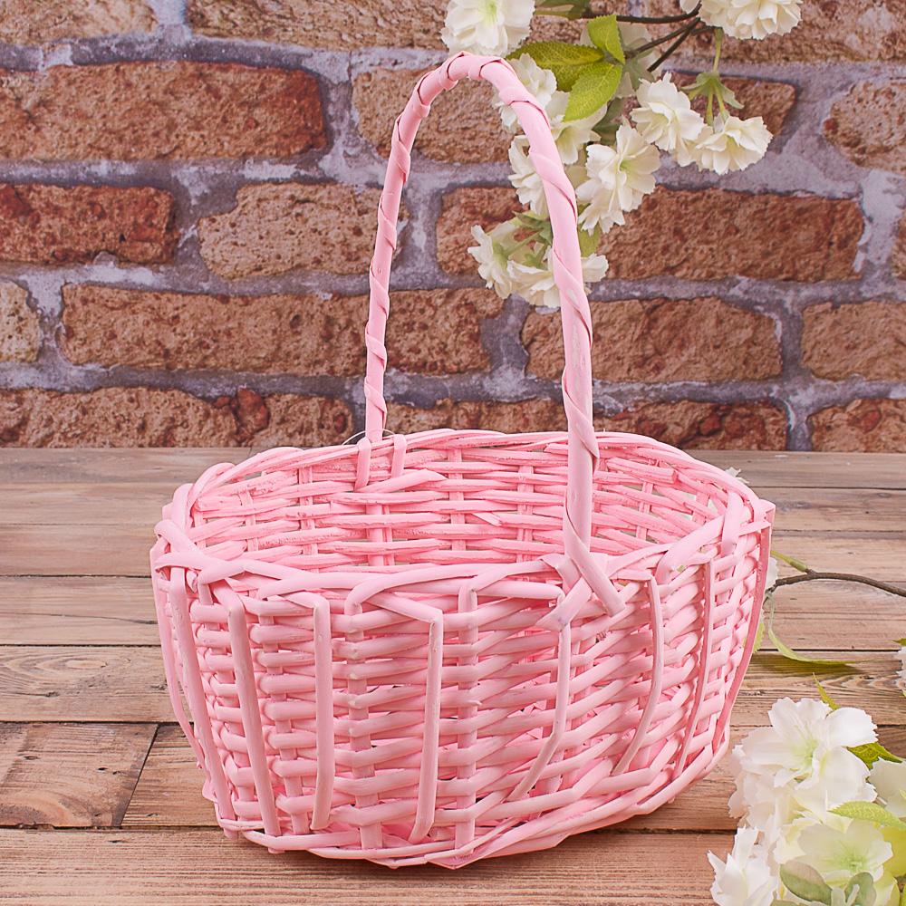 Корзина пастельная овальная розовая