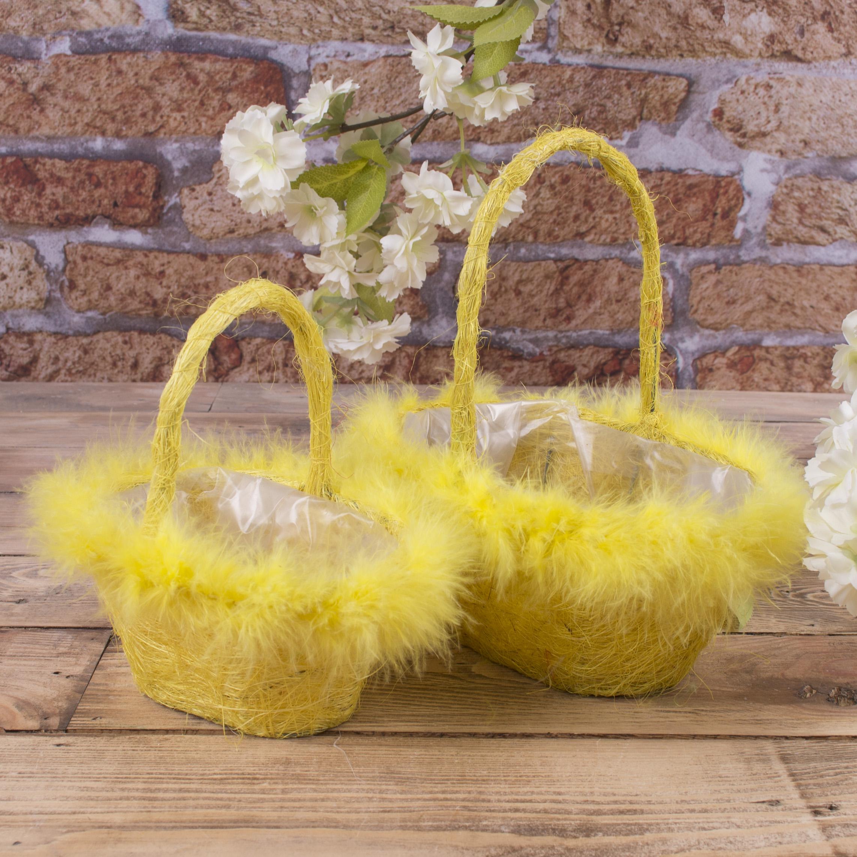 набор корзин из сизали с перьям (желтый)