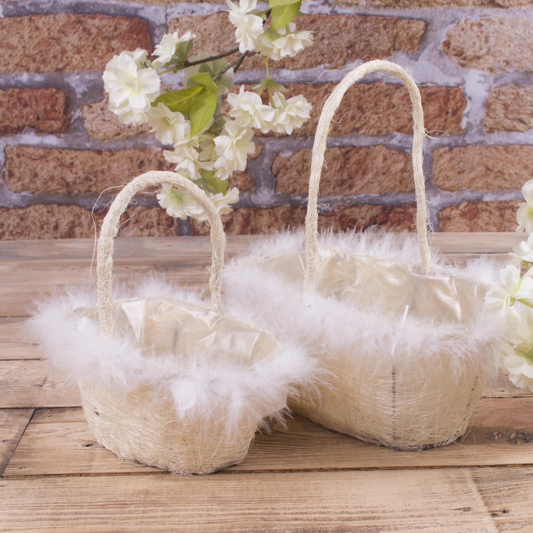 набор корзин из сизали с перьям (белый)