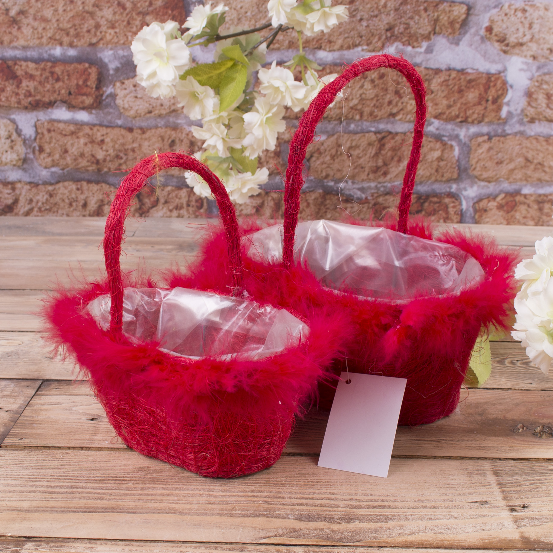 набор корзин из сизали с перьям (красный)