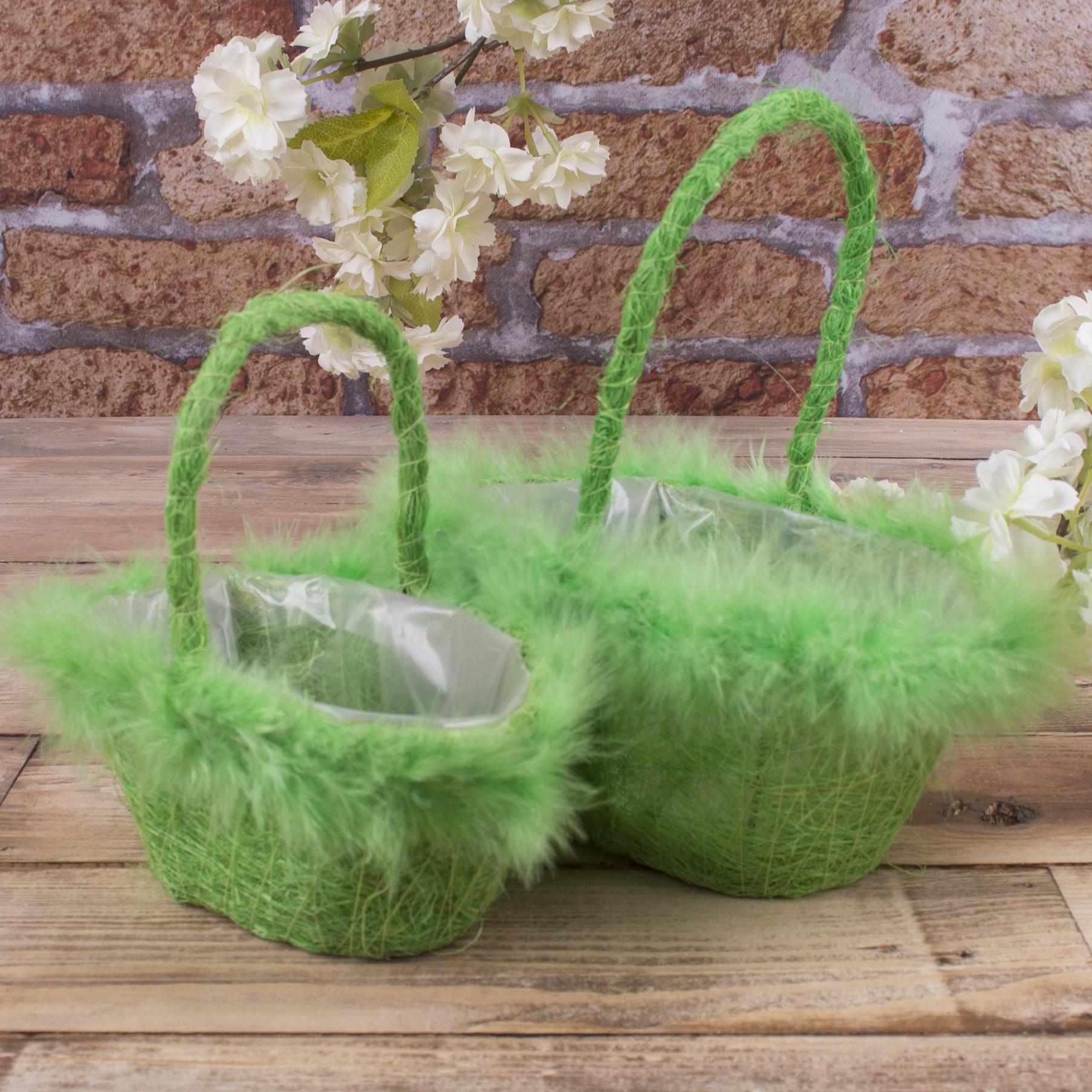 набор корзин из сизали с перьям (зеленый)