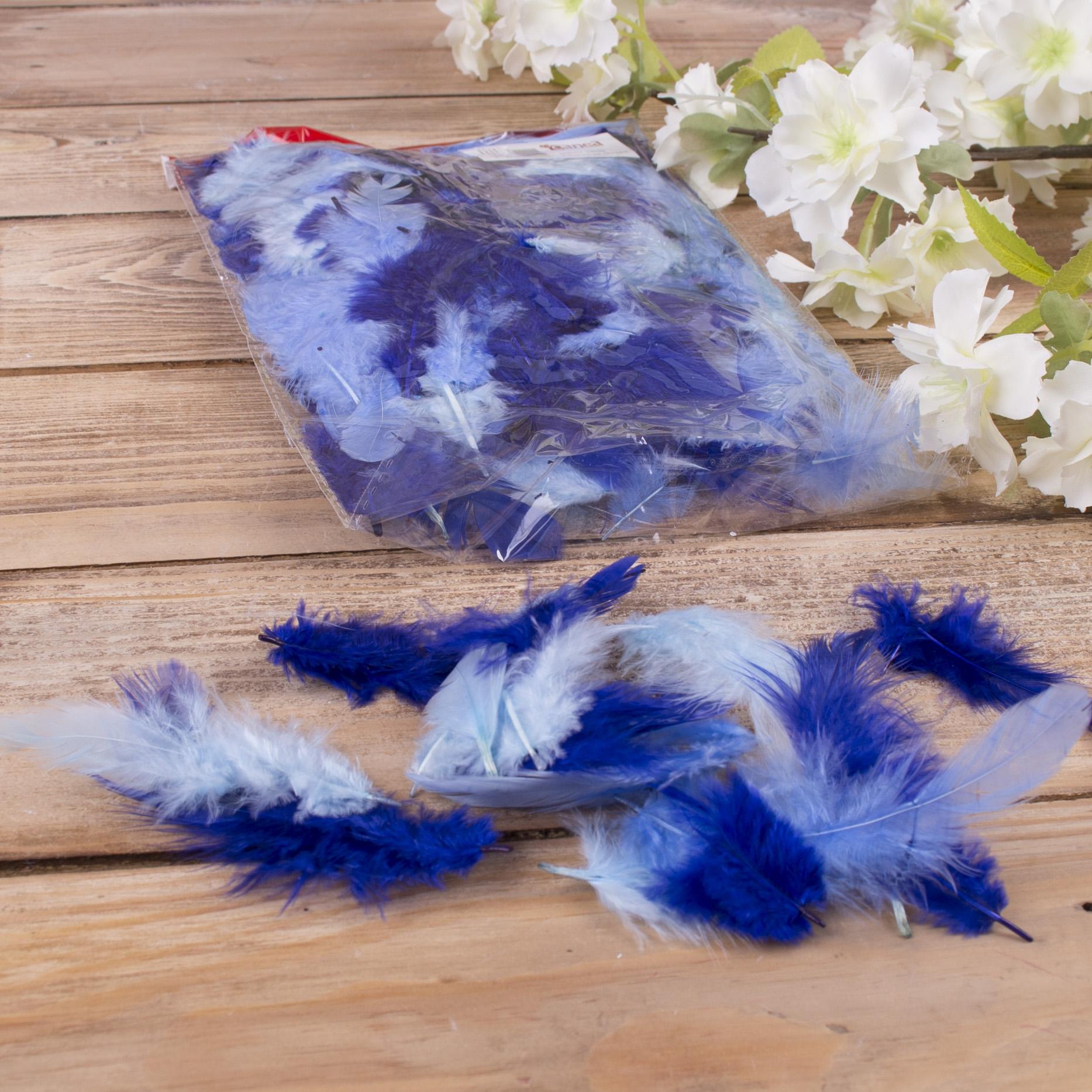 Перья натуральные - №19 синее голубое