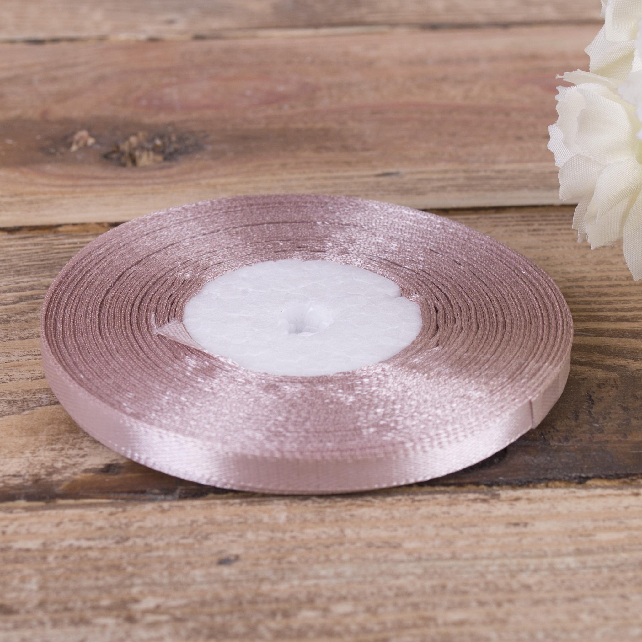 стрічка атласна 0.65см * 35 (колір №92 -пастельно рожевий)