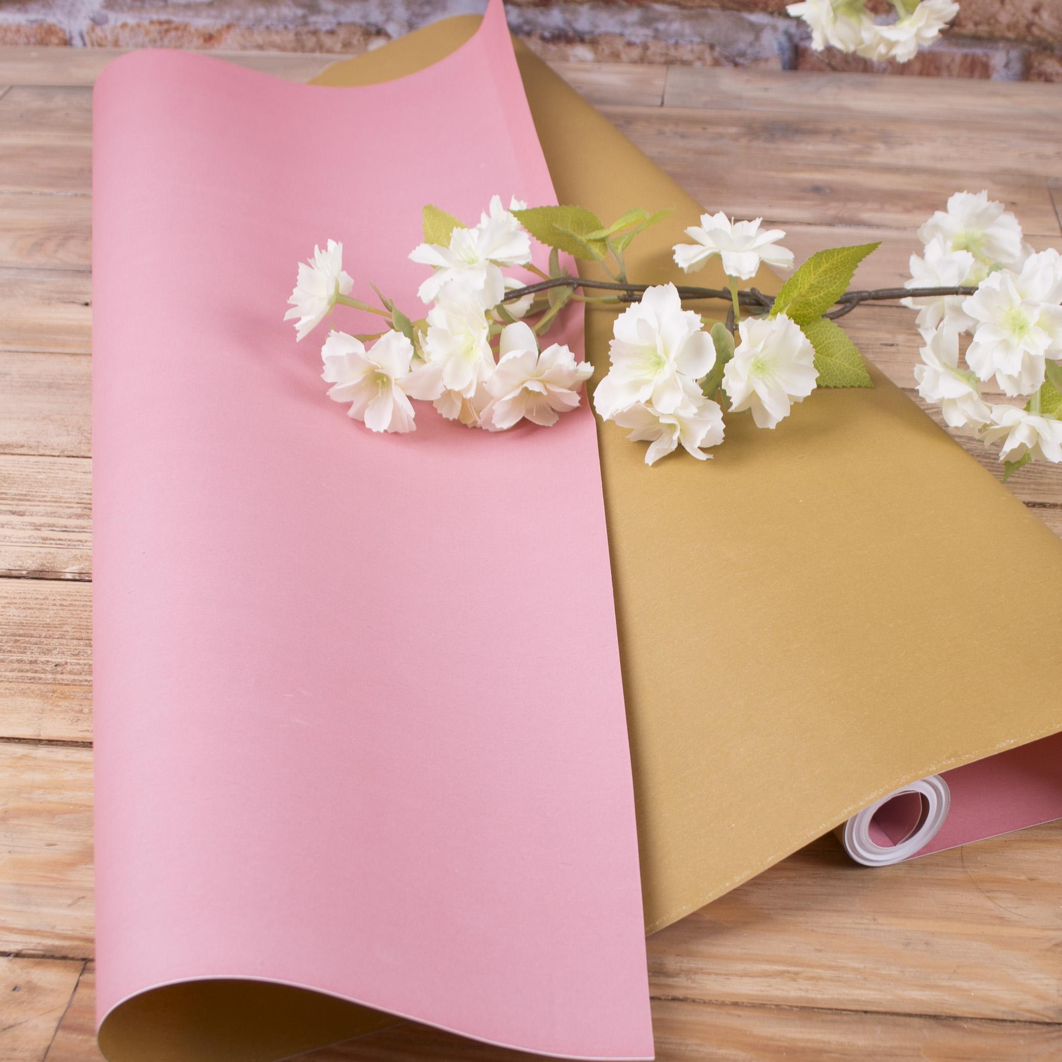 """папір флористичний двосторонній """"рожевий+ матове золото"""""""