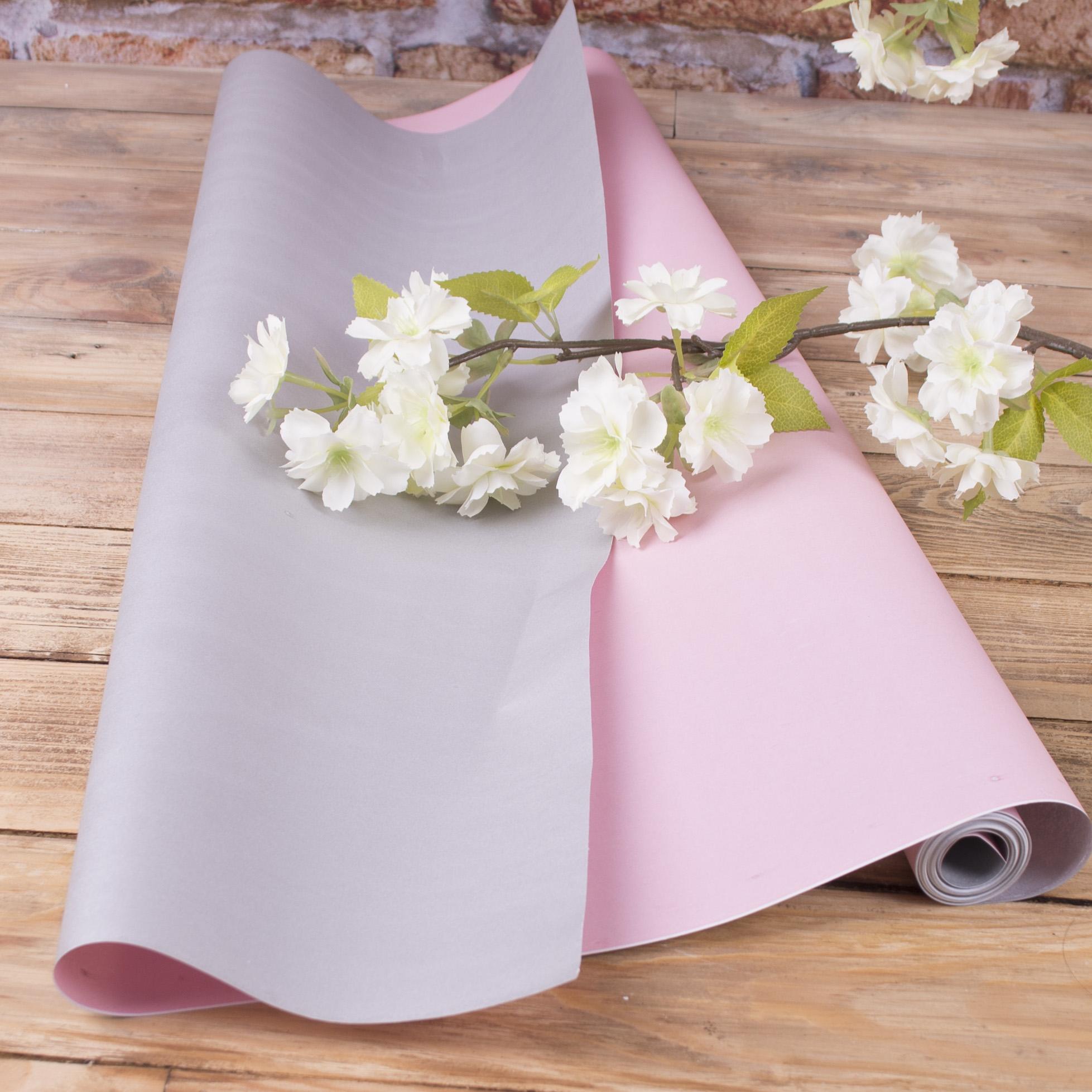 """папір флористичний двосторонній """"рожевий+ матове срібло"""""""