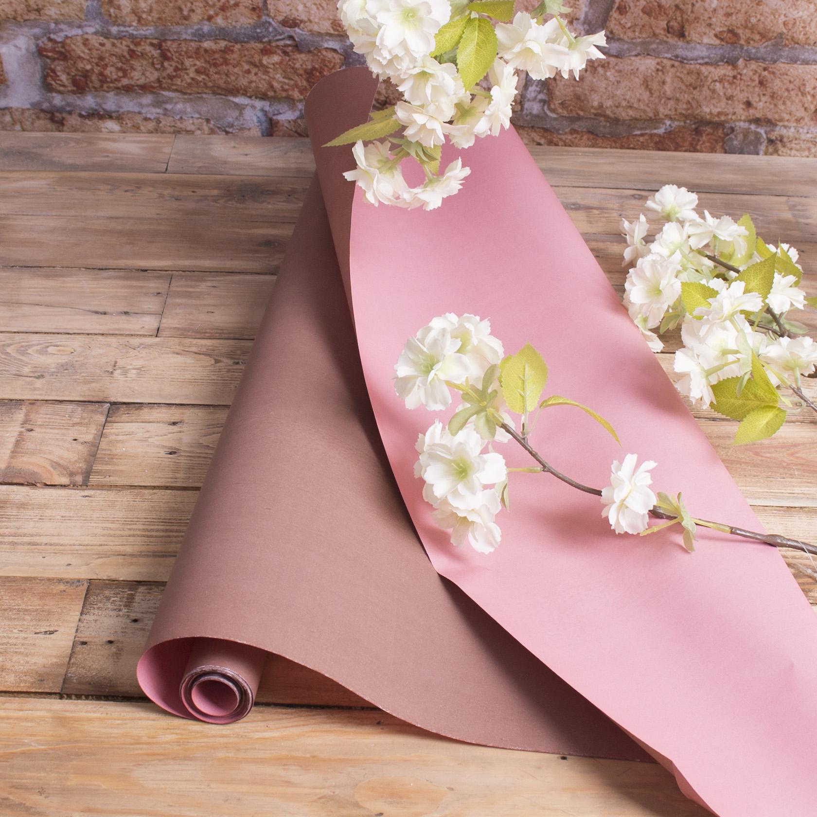 """папір флористичний двосторонній """"шоколадний + рожевий"""""""