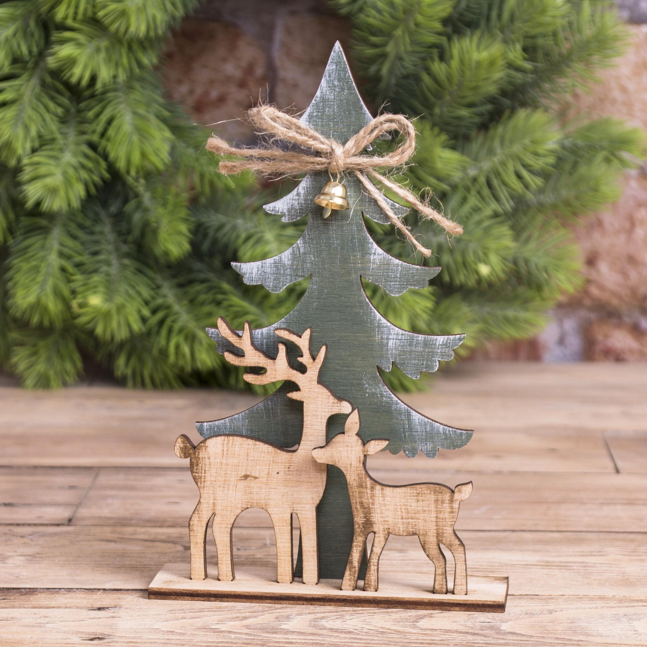 """статуэтка деревянная новогодняя """"елка + 2 оленя"""""""