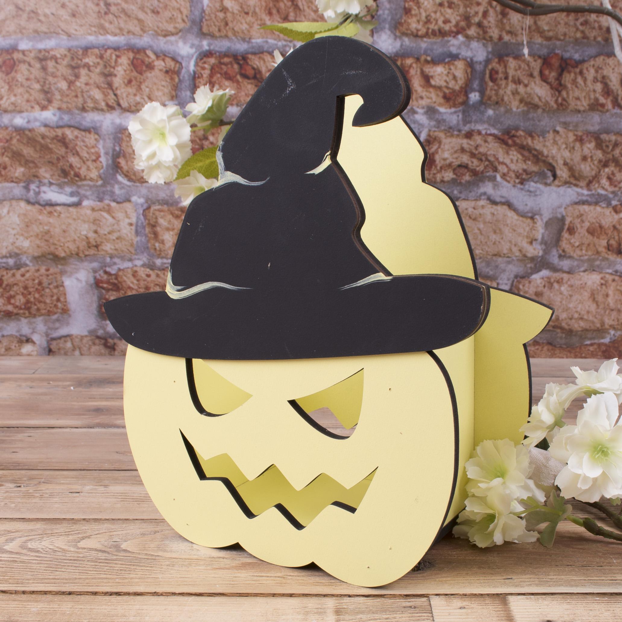 """кашпо """"хеллоуин микс - тыква в шляпе"""""""
