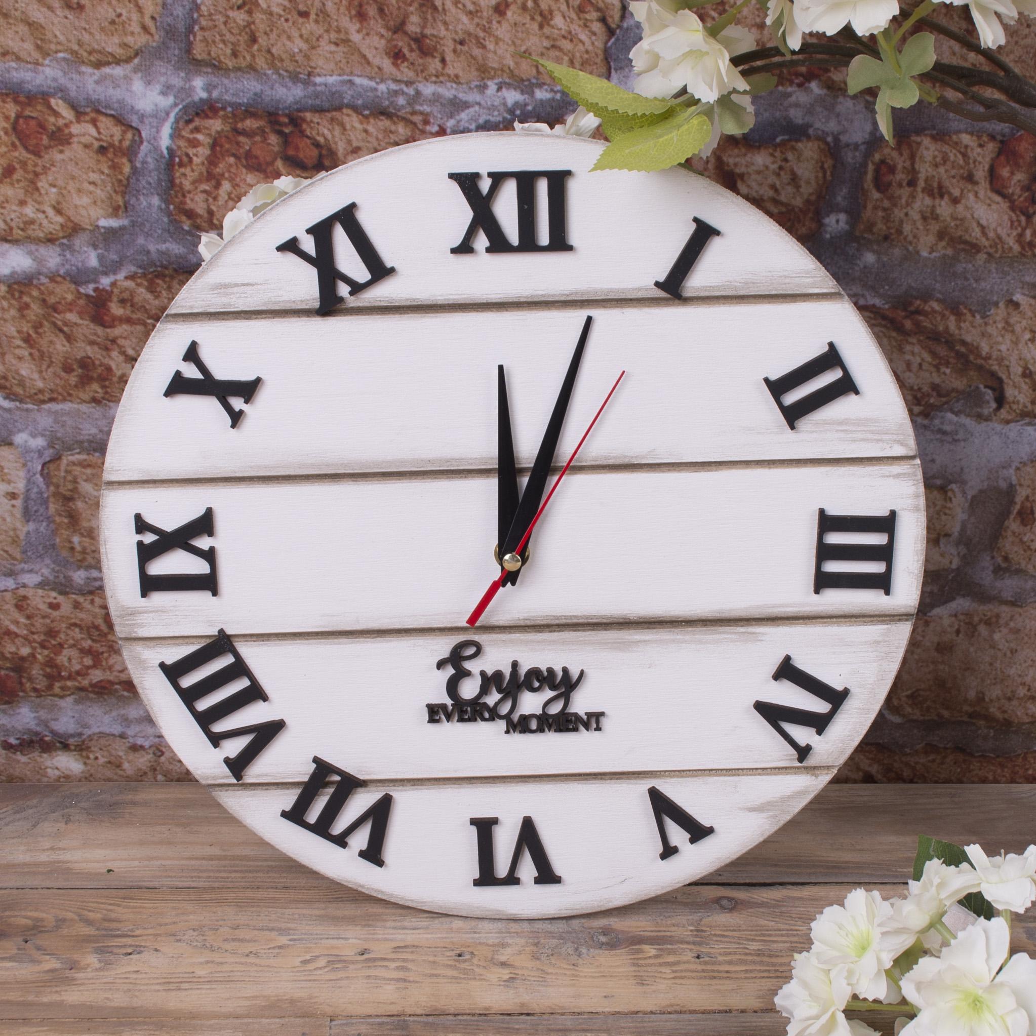 """Годинник настінний """"прованс"""" білий потертий"""