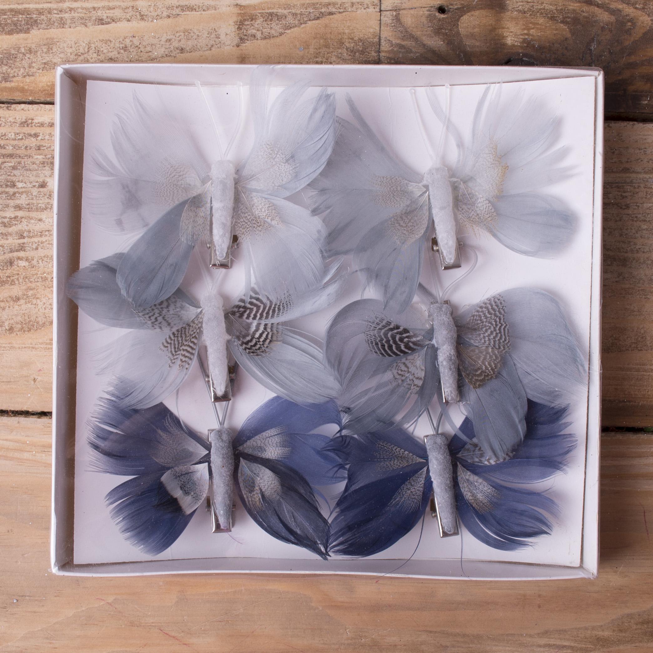 бабочки из перьев 8см серо -голубые
