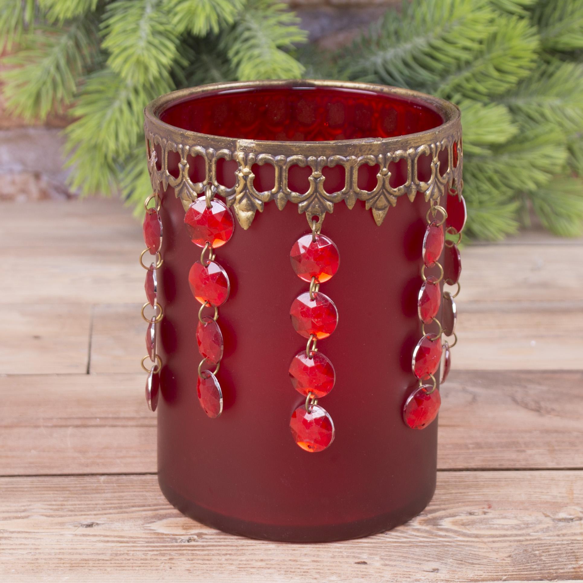 стеклянный подсвечник красный с висячими кристаллами (большой)