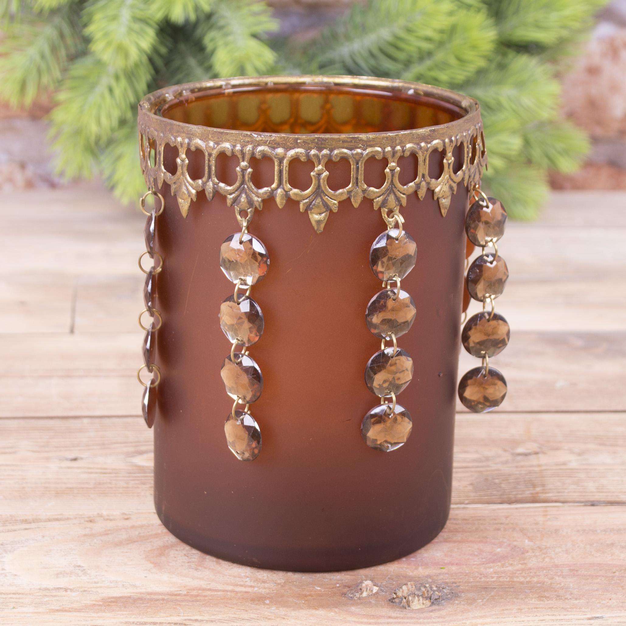 стеклянный подсвечник коричневый с висячими кристаллами (большой)